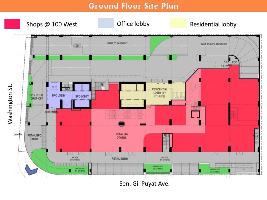 Ground floor site plan 100 West Makati by FILINVEST