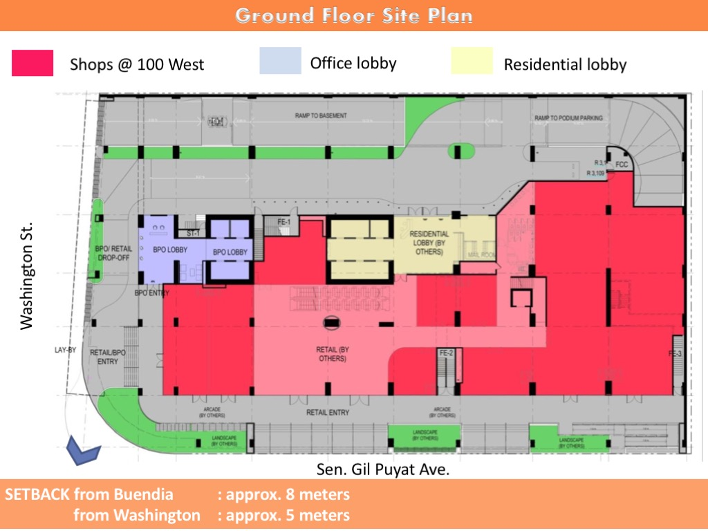 Ground floor site plan bis 100 West Makati by FILINVEST