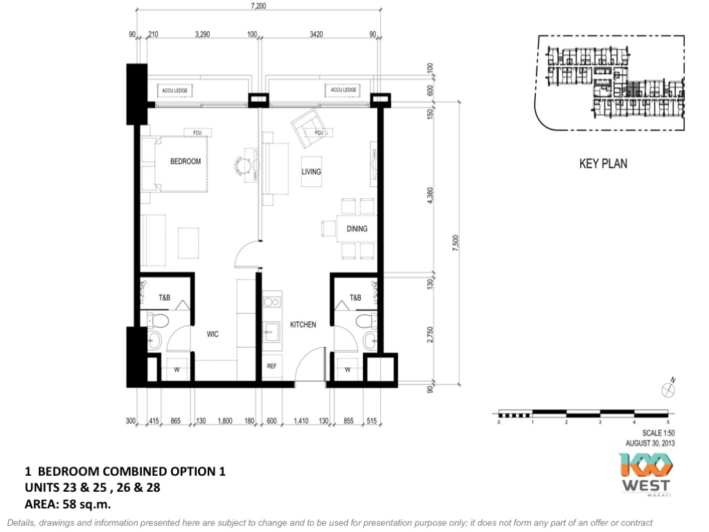 Combination 1 bedroom option 1, 100 West Makati by FILINVEST