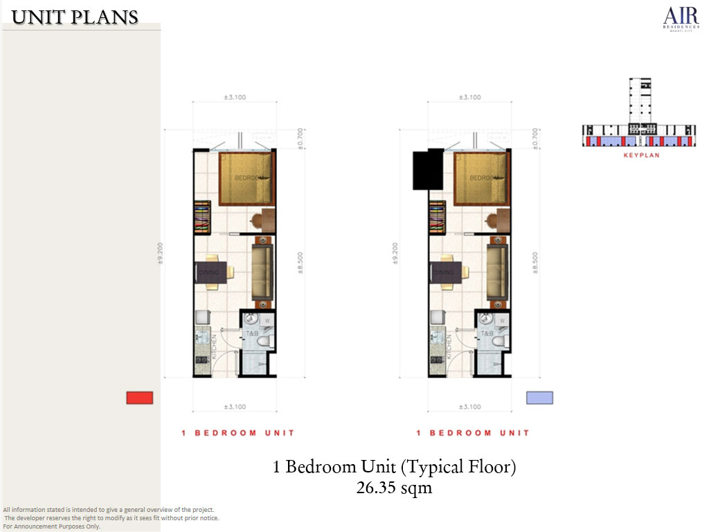 AIR RESIDENCES SMDC - Layout 1 Bedroom