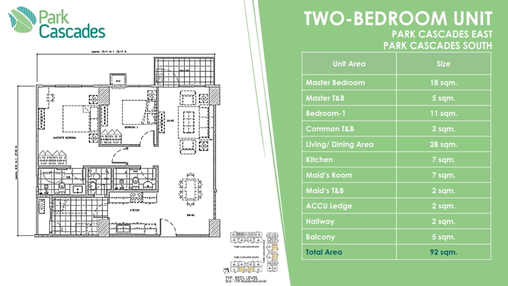 2 BEDROOMS PARK CASCADE, ARCA SOUTH by ALVEO