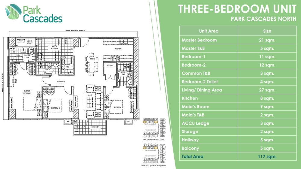 3 BEDROOMS PARK CASCADE, ARCA SOUTH by ALVEO