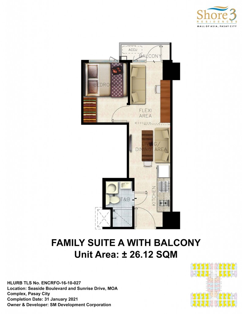 Shore 3 residences Lyaout Familly Suite A