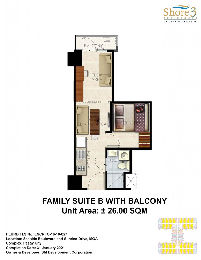 Shore 3 residences Lyaout Familly Suite B